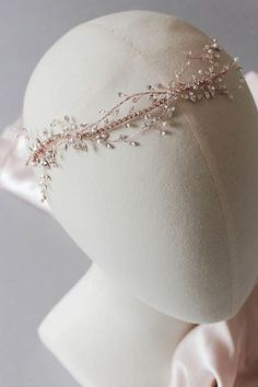 Golden Blush | A bespoke rose gold bridal headpiece with rhinestones for Melissa