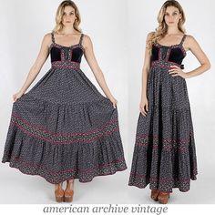 Vintage 70s Calico Gunne Sax maxi dress velvet by americanarchive, $138.00