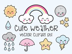 Premium Vector Clipart - Kawaii Weather Clipart - Kawaii Weather Clip art Set - High Quality Vectors - Instant Download - Kawaii Clipart (2.99 USD) by LookLookPrettyPaper