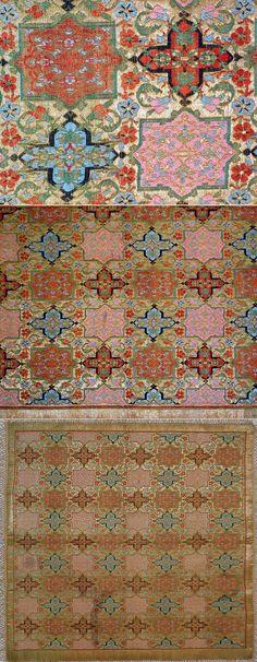 Antique Persian Textile. Silk Brocade with Gold thread Textile Table Cover Pahlavi Dynasty 1925 -1978 A.D, Circa 1925