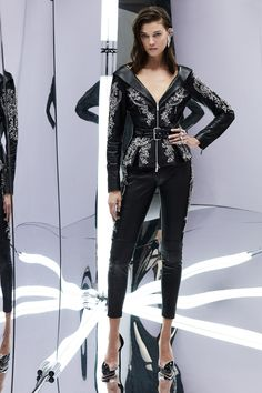 Zuhair Murad Spring 2017 RTW: Fierce meets sophisticated! I like the leather jacket with the intricate beading with the matching leather cropped pants.