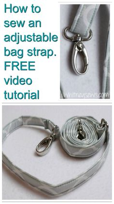 Here's a great FREE step-by-step tutorial on how to make an adjustable bag strap for bags or purses you have made yourself, or for adding adjustable straps to bags or purses you have purchased in stores etc.