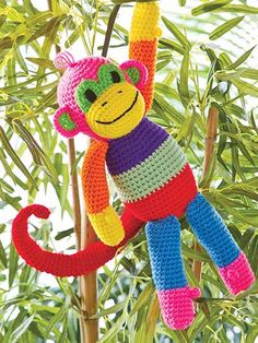 Patchwork Monkey Crochet Pattern Download from e-PatternsCentral.com -- Absolutely adorable, colorful and completely safe (no small parts to pull off!) for the little ones, this cheery fellow will be a favorite companion for any child.