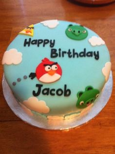Angry Birds Cake by Kim Angry Birds Birthday Cake, Bird Birthday Parties, Birthday Cake Girls, Birthday Cakes, Birthday Ideas, Cupcakes, Cupcake Cakes, Cumpleaños Angry Birds, Bird Cakes