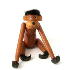 Vtg Teak Wood HANGING MONKEY 10in Tall Articulated Toy Mid Century Danish Modern Arne Basse Zoo Line Kay Bojesen Eames Era by FultonLane on Etsy https://www.etsy.com/listing/277584752/vtg-teak-wood-hanging-monkey-10in-tall