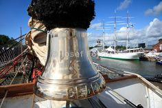 Bell on the bow of the Russian four masted barque Sedov, Tall Ship Race 2009 Turku - Klaipeda, Turku, Finland