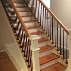 Image result for interior staircase with balusters on both sides