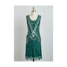 20s Long Sleeveless A-line Cabaret Soiree Dress ($200) ❤ liked on Polyvore featuring dresses, apparel, green, long beaded dress, beaded dress, green shift dress, embellished dresses and green a line dress