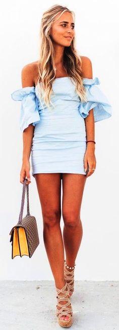 #summer #trending #fashion | Off The Shoulder Little Blue Dress