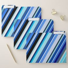 Various Shades of Blue Stripes File Folders - pattern sample design template diy cyo customize