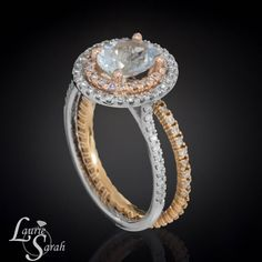 1 carat Aquamarine Engagement Ring with Rose by LaurieSarahDesigns, Love the Mixed Metal, $2846.40