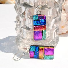 Dichroic Earrings Fused Glass Jewelry Rectangle by IntoTheLight,