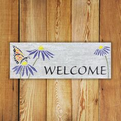 Custom made personalized Garden Decor Tile. Personalized x Butterfly Cone Flower Welcome Tile is Made in Canada and comes with a Lifetime Warranty. Cabin Signs, Commercial Flooring, Garden Signs, Reclaimed Barn Wood, Porcelain Tile, Textured Background, Garden Art, How To Draw Hands, Butterfly