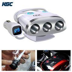 bestek usb adapter car cigarette lighter socket car splitter 180w 3 socket cigarette lighter power adapter 2 port 3 4a usb car charger