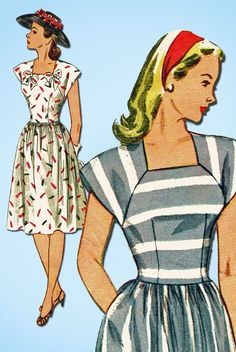 1940s Vintage Simplicity Sewing Pattern 1676 Easy Misses Summer Dress Sz 14 32B…