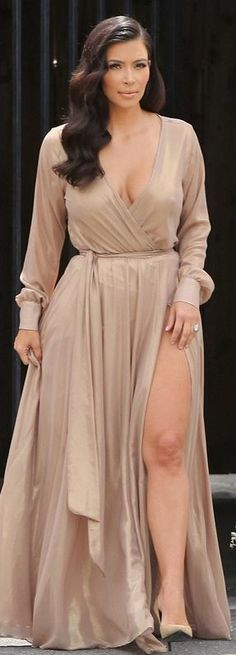 Kim Kardashian: Dress – Michael Costello  Shoes – Saint Laurent