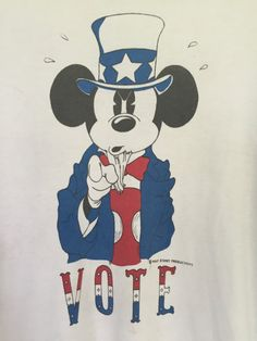 VINTAGE 1970s RARE Mickey Mouse VOTE by squashblossomvintage