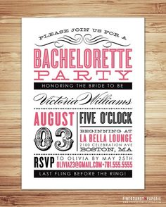 ideas for old fashion partys | Wedding Ideas / Old Fashioned Bachelorette Party Invitation