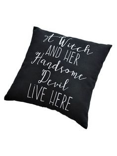 Witch and her Devil Pillow (12-in. sq.) -