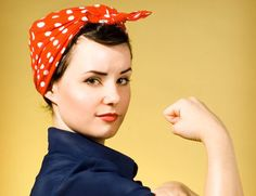 How to look like the most iconic 50s working girl if you have long hair? Check out our Rosie the Riveter hair tutorial.