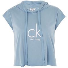 Cropped Logo Hoodie by Calvin Klein ($58) ❤ liked on Polyvore featuring tops, hoodies, blue, cap sleeve crop top, hooded pullover, cropped tops, calvin klein tops and logo hoodies