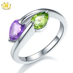 Hutang Genuine Peridot & Amethyst Solid 925 Sterling Silver Ring For Women Fine Jewelry Pear Gemstone Wholesale