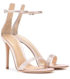 Gianvito Rossi - Portofino embellished satin sandals - These Gianvito Rossi sandals are the perfect sleek style to complement slinky evening ensembles. We love the pretty light pink hue and the glistening crystals that bring dance floor-ready pizzazz. Work yours to your next event with a simple black dress. seen @ www.mytheresa.com...