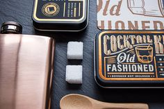 Letterpressed and foil-stamped by Studio on Fire, designer Cody Petts' modern vintage travel cocktail kits pay homage to old-fashioned, rustic printing techniques but finish smooth. Via underconsideration.com:  #Letterpress