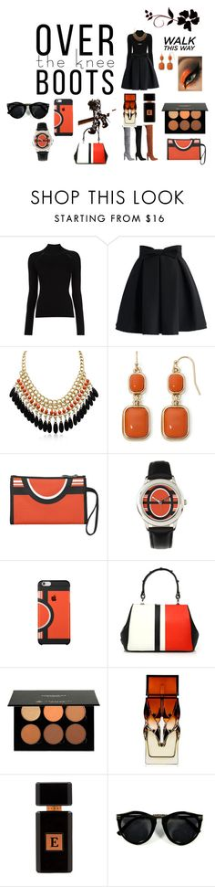 """Black and Orange High Boot Fashion"" by victoria-billings ❤ liked on Polyvore featuring Misha Nonoo, Chicwish, Adoriana, Stuart Weitzman, Liz Claiborne, Prada, Anastasia Beverly Hills, Christian Louboutin and Avery Perfumes"