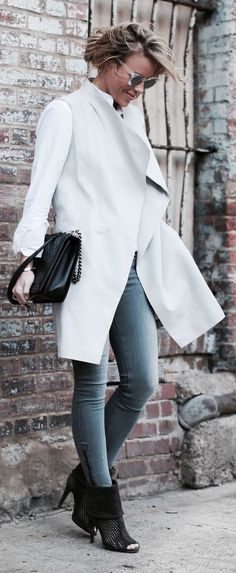 White And Grey Casual Chic Outfit by Happily Grey