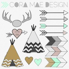 Free TeePee, Antler, Arrow clipart, Tribal print digital papers