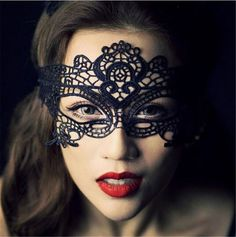 [Visit to Buy] Sexy black lace hollow mask goggles nightclub fashion queen female sex lingerie Cutout Eye Masks for Masquerade Party Mask #Advertisement
