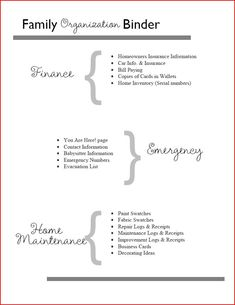 Home Management Binder Table of Contents: Finance, Emergency Info and Home Maintenance