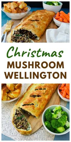 A mushroom, lentil and nut wellington in golden puff pastry. The ultimate vegetarian or vegan Christmas main course. Add this to your xmas meal planning. Vegetarian Christmas Dinner, Vegetarian Christmas Recipes, Veggie Christmas, Christmas Cooking, Delicious Dinner Recipes, Christmas Recipes Dinner Main Courses, Christmas Meals, Vegetarian Soup, Christmas Main Dishes