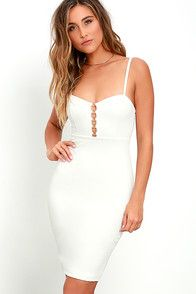 An exciting evening is in store for whoever chooses the For the Thrill Ivory Bodycon Dress! Medium-weight knit fabric is formed to adjustable spaghetti straps, and princess-seamed bodice with a row of silver rings at the neckline. Bodycon midi skirt. Hidden back zipper. As Seen On Bree of @breekleintop! #CuteDresses #TrendyTops, #FashionShoes #JuniorsClothing