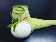 Cocina Tecnoemocional || Toda la cocina es molecular.  Esferificacion de yogurt + aire de perejil + Microgreens y laminas de pepino.