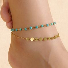Retro Turquoise Bead Sequins Double-Layered Anklet For Women