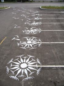 Decorate parking space lines! This would be fun back in the days I lived in an apartment & townhouse :) I wonder what the grocery store with think of this hehehe