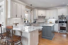 Which Cabinet Door Style Is Right For Your Kitchen? Shaker Style Cabinet Doors, Kitchen Cabinet Door Styles, Shaker Kitchen Cabinets, Kitchen Cabinets In Bathroom, Blue Cabinets, Kitchen Redo, 3d Kitchen Design, Distressed Cabinets, Small White Kitchens