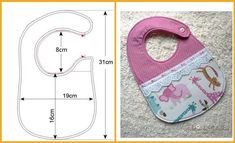10 moldes de baberos para imprimir01 Quilt Baby, Baby Sewing Projects, Sewing For Kids, Baby Bibs Patterns, Sewing Patterns, Baby Knitting, Crochet Baby, Baby Bib Tutorial, Bib Pattern