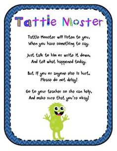Free Tattle Tale monster poem for classroom display. Poem reminds students the difference between tattling and reporting....