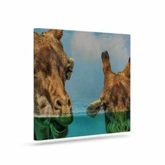 """Suzanne Carter """"Larry & Fred Periscope"""" Mixed Media Animals Canvas Art"""