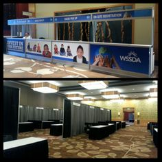 Setting up for WSSDA at the Hyatt in Bellevue! Loving the Registration counter and booths! #eventprofs #wssda