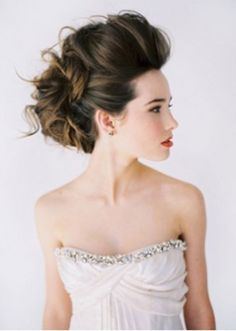 Love how messy and voluminous this updo is and then we can add some gold ribbons like the picture below or gold leaf accents.