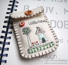 【Mismo - bolso del teléfono】 sencillo protector de fieltro bordado, cuadro hermoso y simple...