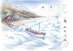 Panel 7 of Coloured Illustration Designs for Minehead Harbour Project, depicting the rich and varied history of Minehead Harbour, Somerset, UK.