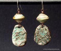 Tumbleweed earrings -  rustic artisan jewelry, organic pottery and lampwork glass, unique OOAK