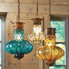 Southwestern Flower Glass Lights