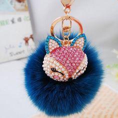 Yosa 2016 New Gift Cute Bling Rhinestone Fox Real Rabbit Fur Ball Fluffy Keychain Car Key Chain Ring Pendant For Bag Charm (blue) Key Chain Rings, Key Chains, Cute Car Accessories, Fluffy Bunny, Bags For Teens, Fur Pom Pom, Rabbit Fur, Crochet Gifts, Girly Things