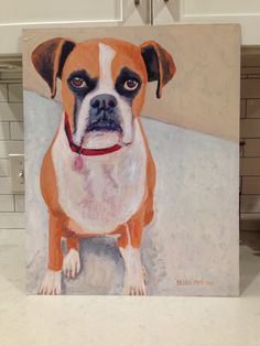 #boxer dog painting by Deana Marconi